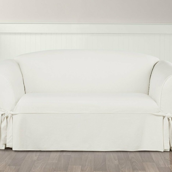 Surprising Designer Twill Loveseat Slipcover White Slip Cover Pdpeps Interior Chair Design Pdpepsorg